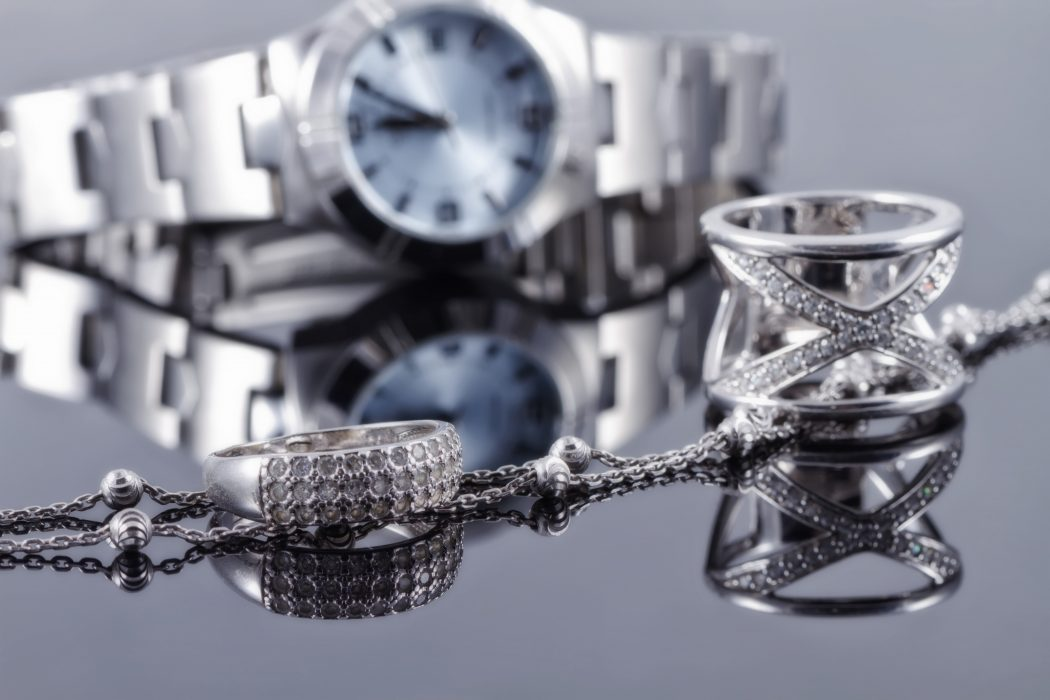 Silver rings, silver chains, women's watches