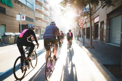 sharing road with cyclists